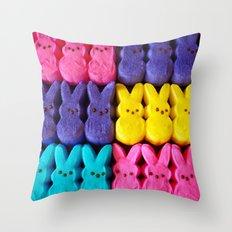 Yellow Bunnies Throw Pillow