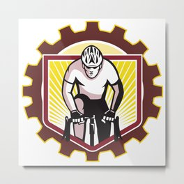 Cyclist Riding Bicycle Cycling Front Sprocket Retro Metal Print