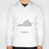 virginia Hoodies featuring Virginia map by David Zydd
