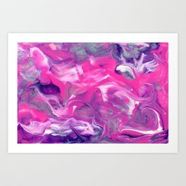 Unicorn Dreams - Abstact Pink and Purple Painting Art Print