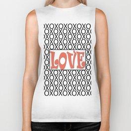 Pantone Living Coral LOVE XOs (Hugs and Kisses) Typography Art Biker Tank