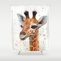 giraffe Shower Curtains featuring Giraffe Baby by Olechka