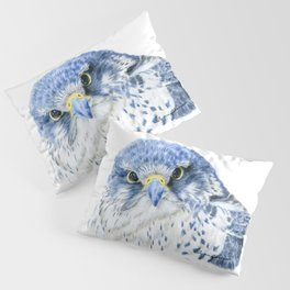 """""""Here's Looking At You"""" painting of a Gyrfalcon by Teresa Thompson Pillow Sham"""