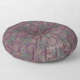 Vintage abstract burgundy green geometrical pattern Floor Pillow