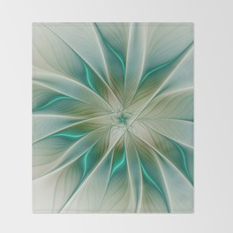 Floral Lights, Abstract Fractal Art Throw Blanket