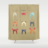 hats Shower Curtains featuring Animal Hats by Celosa Art