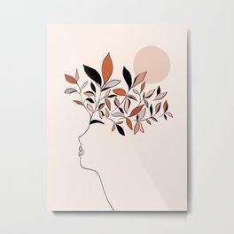 Minimal line Art botanical Portrait Metal Print