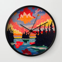 Northern Sunset Surreal Wall Clock