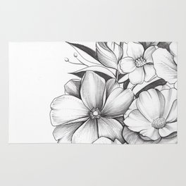 B&W Flowers Rug