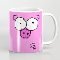 pig Mugs featuring Pig by Frances Roughton