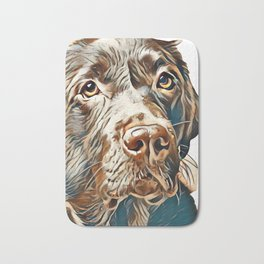 Brown labrador dog in front of a colored background        - Image Bath Mat