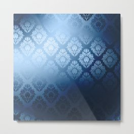 """Navy blue Damask Pattern"" Metal Print"