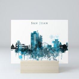 San Juan Monochrome Blue Skyline Mini Art Print