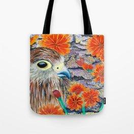 Baby Hawk with orange flowers Tote Bag