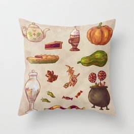 Witchy snacks Throw Pillow