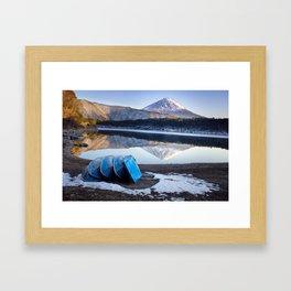 Blue Boats at Mount Fuji Framed Art Print