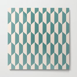 Classic Trapezoid Pattern 240 Teal and Beige Metal Print