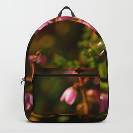 Heather branch in blooming flowers Backpack