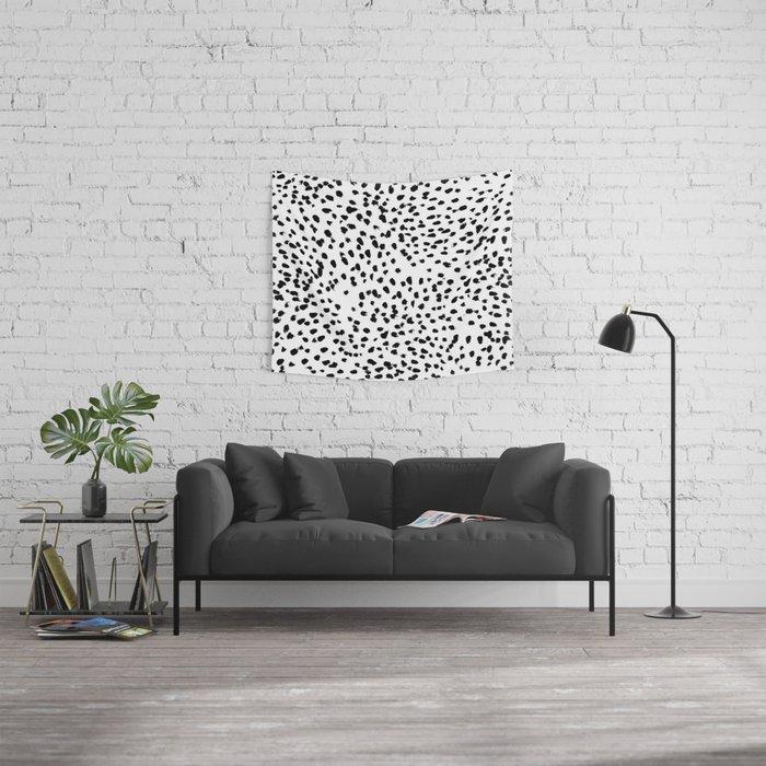 Nadia - Black and White, Animal Print, Dalmatian Spot, Spots, Dots, BW Wall Tapestry