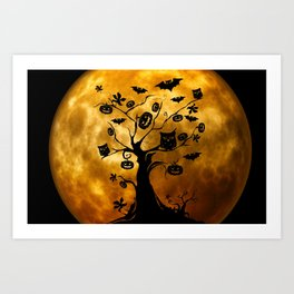 Surreal halloween tree with pumpkins, bats and owls Art Print
