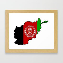 Afghanistan Map with Afghan Flag Framed Art Print