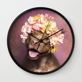 flower pup Wall Clock