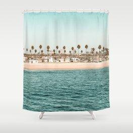 Vintage Newport Beach Print {1 of 4} | Photography Ocean Palm Trees Teal Tropical Summer Sky Shower Curtain