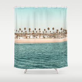 Vintage Newport Beach Print {1 of 4} | Photography Ocean Palm Trees Teal Tropical Summer Sky Shower Curtain