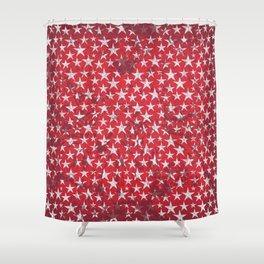 White stars on red grunge textured background Shower Curtain