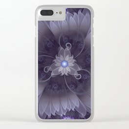 Amazing Fractal Triskelion Purple Passion Flower Clear iPhone Case