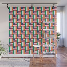 Mix of flag: usa and ireland Wall Mural