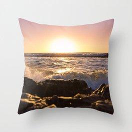 Wave splash against pink sunset - Landscape Photography Throw Pillow