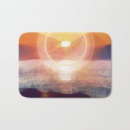 Winged Mediterranean Sunrise with circles and triangles Bath Mat