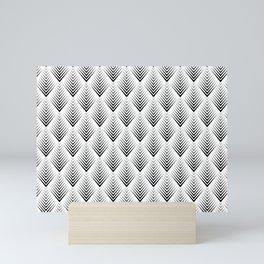 Abstract Black & White Leafs Pattern Mini Art Print