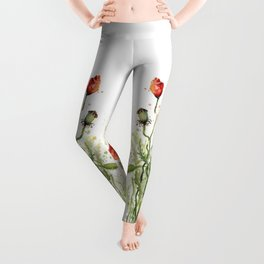 Red Poppies Watercolor Leggings