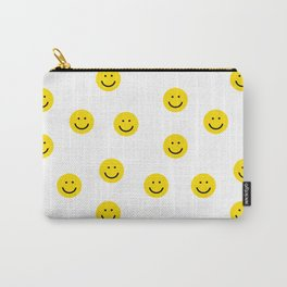 Smiley faces white yellow happy simple smiley pattern smile face kids nursery boys girls decor Carry-All Pouch