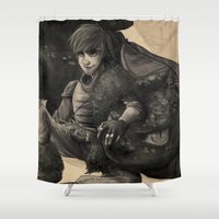 hiccup Shower Curtains featuring Dragon Trainer - HTTYD by Nadia Pietrobon