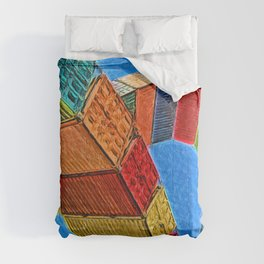 A Rainbow Of Shipping Containers Comforters