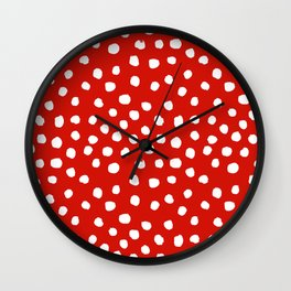Christmas dots painted minimalist dotted pattern holiday red and white Wall Clock