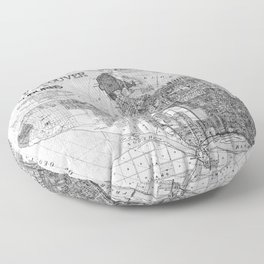 Vintage Map of Vancouver Canada (1920) BW Floor Pillow