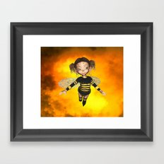 Little Bee Girl Golden Clouds Framed Art Print