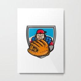 Chimpanzee Baseball Catcher Glove Shield Retro Metal Print