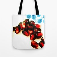 pomegranate Tote Bags featuring Pomegranate by Yilan
