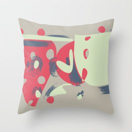 Contemporary style abstract painting. Funny colorful forms, cartoonish style Throw Pillow