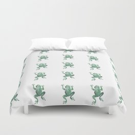 green lichen crawling frog silhouette Duvet Cover
