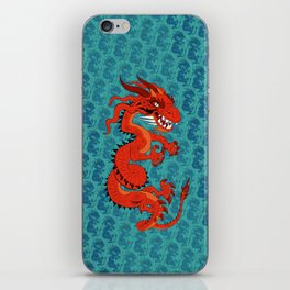Red Dragon with Teal iPhone Skin