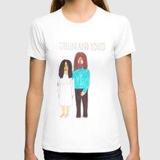 John & Yoko White Womens Fitted Tee LARGE