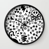 shit Wall Clocks featuring Shit by VineDesign