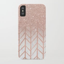 Modern rose gold glitter ombre herringbone chevron pattern on white marble iPhone Case