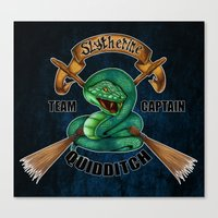 quidditch Canvas Prints featuring Slytherine quidditch team captain by JanaProject
